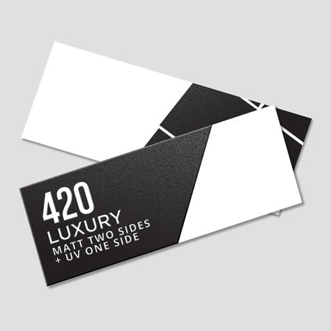 420 Matt Two Sides + Spot UV 1 Side